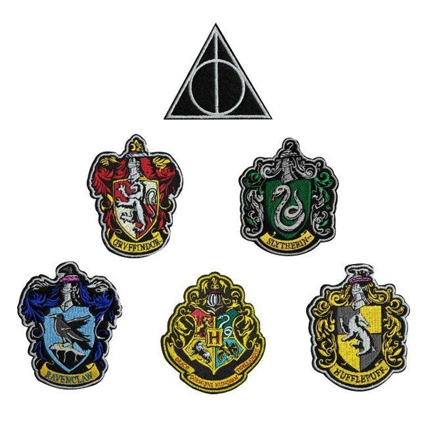 Harry Potter Aufnäher 6er-Pack Hauswappen