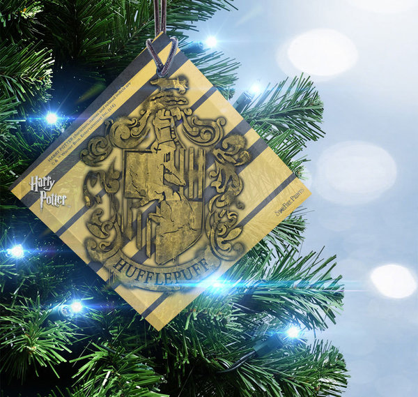 Harry Potter Hufflepuff Crest Hanging Glass - Ornament - Weihnachtsbaum Schmuck